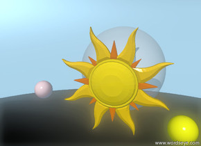 The ground is invisible and dark. A yellow sphere is 50 feet above the ground. A big star is next to the sphere. A huge transparent sphere is behind  the star. A pink sphere is 2 feet to the left of the huge transparent sphere.