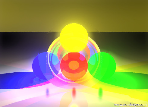 Input text: the glass sphere is flat. small red light is three inches behind it. the small blue light is to the left of the red light. the small green light is to the right of the red light. the small yellow light is on top of the red light. the ground is metallic.the sky is gold. the sun is black.