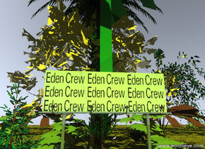 "the spruce tree is to the left of the small chartreuse reflective ""Eden Crew"" billboard. the humongous green bush is on top of the billboard. the small willow tree is to the right of the billboard. the ground is grass. six trees are two feet behind the billboard. a gigantic bush is to the left of the palm tree. a gigantic bush is in front of the willow tree. the sky is baby blue. the sun is gold. there is a silver light  two feet in front of the billboard."