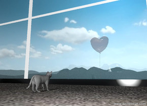 the unreflective cat is facing the window on the  tall sandy mountain range.  it is in front of the window. the window is forty feet wide. it is forty feet tall. the cat is five feet from the window. the glass of the window is transparent. the frame of the window is black.    the huge red balloon is ten feet behind the window. the transparency of the balloon is 55%.  the sky is partly cloudy.