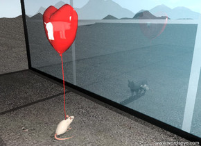 the unreflective large cat is facing the window on the tall sandy mountain range.  it is in front of the window. the window is forty feet wide. it is forty feet tall. the cat is 2 feet from the window. the glass of the window is transparent. the frame of the window is black.   the huge red balloon is 5 feet behind the window. the huge red balloon is 10 feet above the ground. the transparency of the balloon is 25%. the big mouse is under the balloon.  The pig is 25 inches in the huge red balloon.  the sky is partly cloudy.