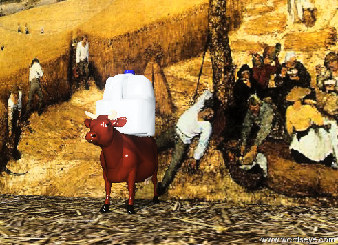 Input text: the cow is in front of the farmland wall. the wall is 30 feet wide. it is 30 feet tall.  The ground has a straw texture. the straw texture is 20 feet wide.  the wall is unreflective.  The huge milk carton is on the cow.