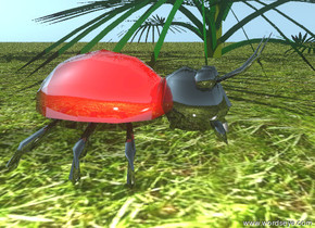 there is an enormous bug the ground is grass. there is a tree 2 inches to the right of the bug. the bug is shiny.