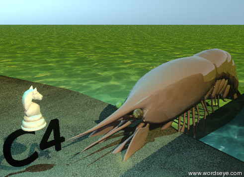"Input text: the cube is to the left of the island. the 6 foot tall shiny prawn is 56 feet to the right of the cube. it is facing the cube. it is in the ground. the ground is water. the island is sand. the small black ""C4"" is to the left of the prawn. it is -1.7 feet above the island. the checkerboard wall is 5 feet in front of the prawn. the sun is gold. the LPREYEL of the prawn is stained glass. the LPREYER of the prawn is stained glass. the huge marble knight is on the ""C4"". the knight is facing right. the cyan illuminator is 4 feet above the knight."