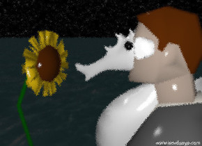 the enormous white seahorse is -3.2 feet above the business man. the seahorse is -11 inches in front of the man. the sky has a starfield texture. the ground is dark water. it is cloudy. the 3 foot tall sunflower is in front of the seahorse. it is facing the seahorse.