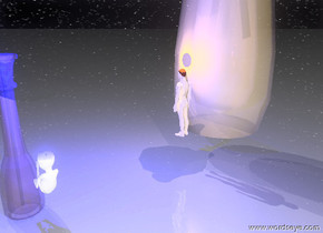 there is an giant shiny transparent vase. there is a large white fetus behind the vase. the fetus is 1 feet above the ground. the ground is clear and reflective. the sky is starfield there is an enormous clear reflective vase next to the fetus. there is a very very small man 4 feet to the left of the fetus. there is a large blue illuminator 1 foot above the fetus. there is a small pink illuminator above the man
