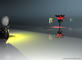there is an enormous transparent black shiny reflective wall. there is a large camera 3 feet in front of the wall. the camera is facing the wall. there is a very large flower 1 feet behind the wall. there is a yellow illuminator -1 foot above the camera. the ground is shiny black and trunslucent and reflective. there is a red illuminator 8 inches in front of the flower. there is a white illuminator 10 feet to the right of the camera. there is a white illuminator 8 feet to the right of the flower.