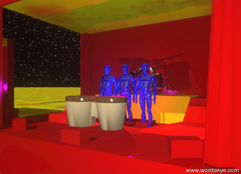 Input text: three small shiny blue men are in the dark red stage. the ground is fire. the sky has a starfield texture. the 1.5 foot tall drum is in front of the shiny blue man. the small silver drum is  1.2 feet behind the small shiny blue men. it is -1.6 feet above the small shiny blue men. the platform of the stage is orange. the RAMPS01 of the stage is red. the mesh of the stage is fire. the large silver wall is to the left of the stage. it is facing right. the second large silver wall is to the right of the stage. it is facing left. the purple illuminator is 1 foot in front of the drum.