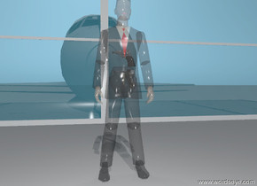 there is a  transparent business man. there is a 60 foot long 20 foot high  window 10 feet behind the business man. the window is facing the business man. there is a airplane 10 feet behind the man. there is an airplane 1 foot to the left of the airplane. there is a gun -1 foot in front of the man. it is 3  feet above the ground. it is facing the plane. there is a  gun 1 inches  above the gun. it is facing the plane. there is a tiny white illuminator 2 inches behind the man. it is 4 feet above the ground.