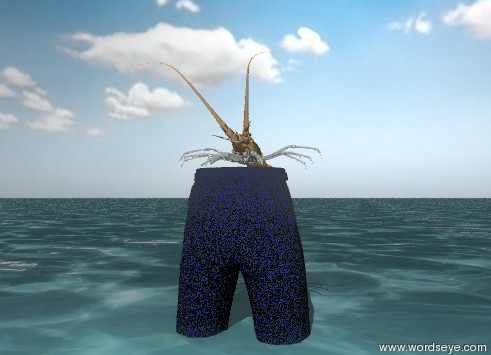 Input text: the large shellfish is on the unreflective trouser. the trouser has  a cobalt blue denim texture. the texture is 0.1 inch wide. the trouser is in the sea. the sky is partly cloudy.