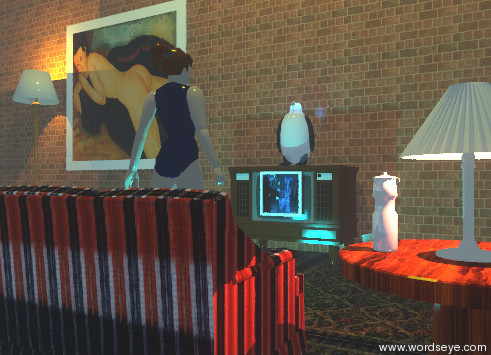 Input text: the 2.5 feet tall penguin is on the television. the television is 6 feet tall. the penguin is 20% transparent. the tiny ink blue illuminator is in the penguin.  the giant brick wall is 50 feet wide. it is behind the television.  the huge picture is behind the penguin. it is 5 feet to the left of the penguin.  the small cyan illuminator is 4 feet in front of the television.  the couch is 7 feet in front of the television. it is facing the television. the couch is fabric.  the floor lamp is 12 feet to the left of the television. it is 9 feet tall. the small tangerine illuminator is in the floor lamp.  the woman is is behind the couch. the woman is facing the television. the woman is dull.  the table is 1 feet to the right of the couch. the table is wood. the cream lamp is on the table. the small apricot illuminator is in the lamp.   the small shiny bottle is next to the lamp. it is white.  the scene-6895 picture is in front of the television. it is 1.6 feet wide.  it is 1.7 feet above the ground.   the ground is rug texture.  it is dark. it is hazy.  the yellow illuminator is 13 feet above the woman.  the camera light is black.