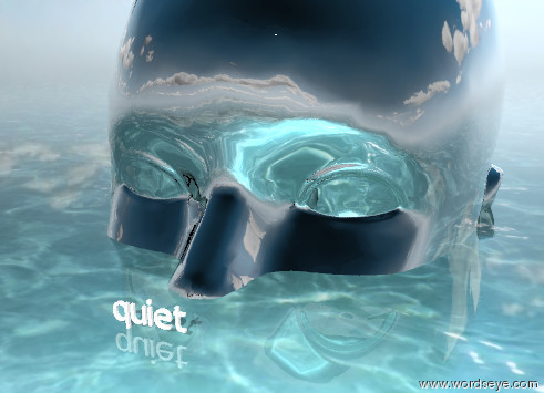 """Input text: the humongous silver head is in the ground. the tiny """"quiet"""" is 1 foot in front of the head. the tiny """"quiet"""" is on the ground. it is partly cloudy. the ground is shiny water."""