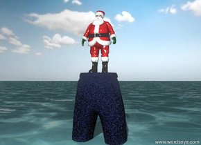 the tiny santa claus is on the unreflective trouser.   the trouser has  a cobalt blue denim texture. the texture is 0.1 inch wide. the trouser is in the sea. the sky is partly cloudy.
