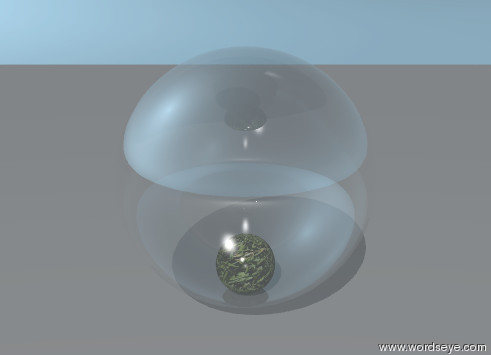 Input text: the small sphere is inside the large glass sphere. the grass texture is on the small sphere.