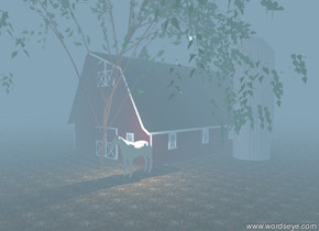 The air is foggy. The illuminator is above the tan horse. The horse is under the willow tree. The barn is behind the willow tree.  The ground has a dirt texture. The ground is unreflective.