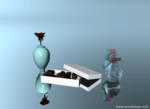 Input text: heart and chocolate. a tiny rose is on a tiny vase. the ground is silver. the heart is glass.
