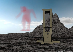 The large red steam monster is  next to the large guillotine.  The guillotine is on the stone mountain range.  The tall stone mountain is 20 feet behind the guillotine.  The ground has a stone texture.  the monster is 8 feet above the bottom of the guillotine.  It is partly cloudy.
