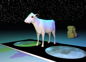 the tan cow is on the moon rug. the rug is on the very tall mountain range.  the sun is black.    The starfield texture is on the sky.  The green illuminator is 3 feet above the cow.  The blue illuminator is 2 feet to the right of the green illuminator.  The huge reflective rock is 5 feet behind the  rug.