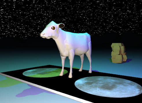 Input text: the tan cow is on the moon rug. the rug is on the very tall mountain range.  the sun is black.    The starfield texture is on the sky.  The green illuminator is 3 feet above the cow.  The blue illuminator is 2 feet to the right of the green illuminator.  The huge reflective rock is 5 feet behind the  rug.