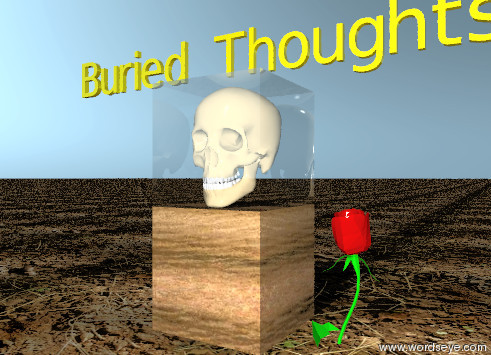 "Input text: the skull is inside the glass cube. the ground is dirt.  The glass cube is on the wooden block.  The tiny gold ""Buried Thoughts"" is above the cube.  The large rose blossom is in the ground. It is two inches to the right of the block."