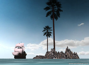 the big palm tree is on the island. a palm tree is next to the big palm tree.  the island has a stone texture. the texture is 10 feet wide.  the island is in the sea. the island is 20 feet tall.  the island is 50 feet wide and 50 feet deep.  The small galleon is in the sea. it is 10 feet away from the island.  it is partly cloudy. The sun is pink.