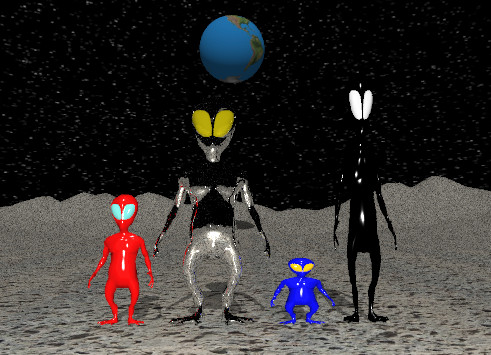 Input text: the tall black alien is on the tall volcanic rock mountain range. the eyes of the alien are white. the short blue alien is to the left of the black  alien. the eyes of the alien are orange. the silver alien is nine feet tall. it is to the left of the blue alien. the eyes of the alien are gold. a red alien is to the left of the silver alien. the eyes of the alien are turquoise. the sky has a starfield texture.  A humongous unreflective earth sphere is 100 feet behind the silver alien. It is 5 feet above the mountain range.