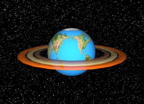 the unreflective earth saturn is 200 feet above the ground. the sky has a starfield texture. the ground is silver. the sun is black.