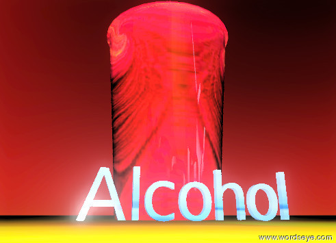 "Input text: the huge shiny glass-img-st3035 cup is on the fire ground. the tiny texture ""Alcohol"" is in front of the cup. the sky is dark red. the sun is black. the dark brown light is  ten feet in front of the ""Alcohol""."