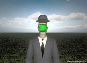 the unreflective hat is on the unreflective businessman. a  green unreflective apple is in front of the lips of the businessman. the ground is grassy. the sky is partly cloudy. the tie of the businessman is black. it is sunrise.