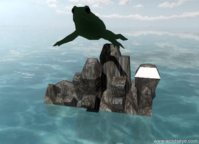 There is a huge green frog on a rock. The sky is partly cloudy. The ground is water.