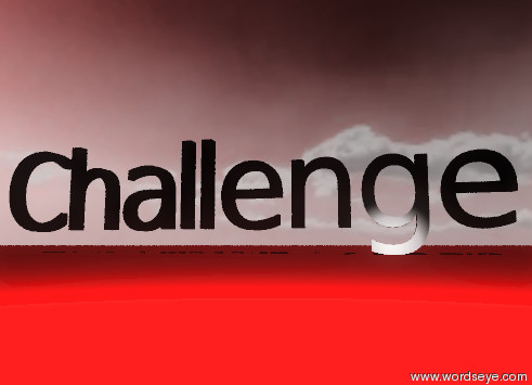 """Input text: the black """"Challenge"""" is on the red ground. the sky is red, it is partly cloudy."""