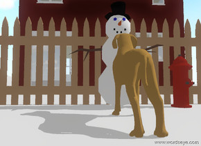 A snowman is on a white mountain range. the snowman is facing a dog. the dog is on the mountain range. the dog is facing the snowman. a fire hydrant is in front of the snowman. the snowman is unreflective. the sky is partly cloudy. a fence is right of the snowman. the fence is facing east. a house is ten feet right of the fence. the house is facing east. the camera-light is black. the dog is unreflective.