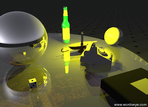 Input text: the shiny silver sphere is on the glass table.  the die is .3 feet in front of the silver sphere. the table is on the rug. the small steel sphere is 1.6 feet to the right of the shiny silver sphere. the candle is .3 feet to the left of the steel sphere.  the tiny yellow illuminator is on the candle. the phone is in front of the candle. the phone is facing southeast. the book is .2 feet in front of the phone. the green bottle is .6 feet behind the candle. the camera light is black.  it is evening. the ground is shiny tiles.