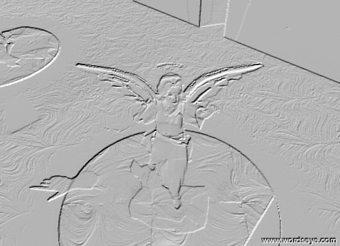 Input text: the glass-img-st1848 ground. the sky is dark blue. it is very cloudy.  the angel is on the  glass-img-st3035 rug. the skin of the angel is pink. the halo of the angel is gold. the wing of the angel are silver. the huge gold light is ten feet above the angel. the huge yellow light is ten feet in front of the angel. the huge white illuminator is in the angel. the foggy crucifix is in front of the angel. the huge silver wall is -20 feet behind the rug. it is facing northwest. the large shiny wall is  to the right of the rug. it is facing northeast.
