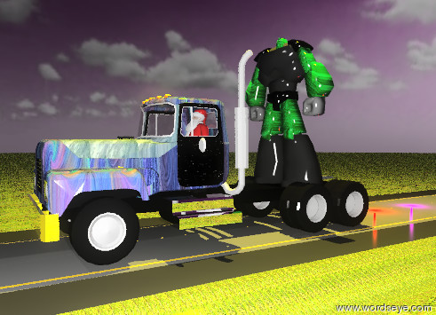 Input text: the  truck is on the road. the road is 1000 feet long. the GRASS of the road is grass. the ground is grass. the sky is purple. it is partly cloudy. the body1 of the truck is glass-img-st1989. the body2 of the truck has a glass texture. the chrome of the truck is silver. the STEPS of the truck are silver. the bumper of the truck is gold. the door of the truck has a starfield texture. the mirror of the truck is invisible. the mirmount of the truck is invisible. the large glass-img-st1997 animal is on the truck. the enormous gold light is 20 feet above the animal. the santa claus is -12 feet in front of the truck. the santa claus is 3 feet above the road.  the red illuminator is 5 feet behind the truck. the purple illuminator is 5 feet behind the red illuminator.