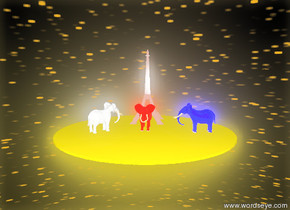 A red humongous unreflective  elephant-vp1336 is on the unreflective gold crystal ground. It is facing north.  A blue humongous  unreflective elephant-vp1336 is 100 feet  to the left of the elephant. It is facing east. A bright white humongous  unreflective  elephant-vp1336 is 40 feet  to the right of the red elephant. It is facing southwest. An Eiffel tower is 50 feet in front of the red elephant. The sky is bright yellow. it is night.