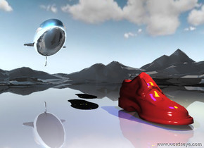 the enormous dark red shoe is on the tall shiny mountain range.  It is afternoon. it is partly cloudy.  The large blue invisible light is 6 feet above the shoe.  The large yellow invisible light is 3 feet to the right of the blue light.  the camera light is dark.  The second shoe is enormous. it is behind the dark red shoe.  it is to the left of the dark red shoe. it is 1 inch tall.  The third shoe is enormous. it is behind the second shoe.  it is to the right of the second shoe. it is 1 inch tall.    The silver blimp is 30 feet behind the shoe. it is 20 feet above the ground.