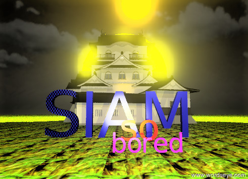 """Input text: The giant blue """"IAM"""" is 1 foot to the right of the Giant blue checkerboard """"S"""". the ground is glass-img-st2077. the castle is 25 feet behind the """"IAM"""". the sky is dark orange. the huge orange light is ten feet above the """"IAM"""". the large red """"so"""" is 3 feet in front of the """"IAM"""". the purple """"bored"""" is 7 feet in front of the """"so"""". the huge yellow light is twenty feet in front of the """"bored"""". the 50 foot tall yellow light is behind the castle. it is partly cloudy."""