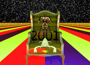 "the sky has a starfield texture. the gold wood chair is on the ground. the ground has a ten foot wide france pattern. the small black ""2001"" is on the chair. the very tiny silver male-vp22728 is on the ""2001"". the sun is chartreuse. the huge foam crawfish is a foot in front of the ""2001""."