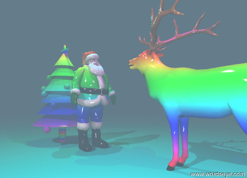 Input text: The rainbow Santa Claus is to the right of the rainbow christmas tree. The Santa Claus is facing right. The rainbow elk is facing left. The elk is two feet to the right of the Santa Claus. The rainbow ground is shiny. the air is steamy.  the yellow illuminator is 2 feet above the tree. the cyan illuminator is 2 feet above the santa claus. the magenta illuminator is 2 feet above the elk.