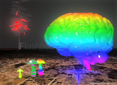 "Input text: the rainbow brain. the opacity of the brain is 80%. the sky is very cloudy. the very tiny purple illuminator is in the brain. the tiny pink illuminator is 1 foot above the brain. The very  tiny blue illuminator is inside the brain. the ground is dirt. it is dawn. the tree is 20 feet to the left of  the brain. the rainbow mushroom is in front of the brain. the polka dot mushroom is in front of  the rainbow mushroom.  the small chartreuse mushroom is 1 inch in front of the polka dot mushroom.  the air is misty. the red illuminator is in the tree. the tiny blue illuminator is on top of the tree. the ""Flashback"" is behind the tree. the ""Flashback"" is facing right. the opacity of the ""Flashback"" is 50%."