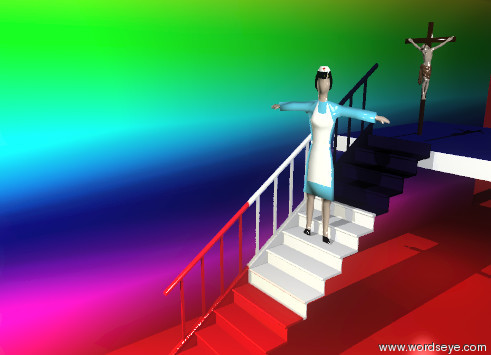 Input text: the flat woman is on the france staircase. the large rainbow wall is 2 feet to the left of the staircase.  the wall is facing east. the ground is red. the flat dog is inside the woman. the blue wall is behind the staircase. the blue wall is facing up. it is 6 feet above the ground. the small flat sculpture is  the flat sculpture is 6 feet behind the woman. the sculpture is 7 feet above the ground. the brown light is under the blue wall. the gold light is ten feet in front of the woman.