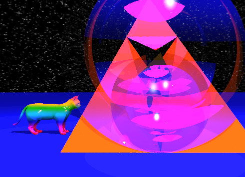 Input text: the silver pyramid is -1 feet above  the gold pyramid. the silver pyramid is facing down.  the tiny rainbow cat is to the left of the pyramid. the cat is facing the pyramid.  the ground is blue and shiny.the sky has a starfield texture. the camera light is red. the purple light is above the pyramid. the flat glass sphere is in front of the pyramid. the small flat glass sphere is in front of the flat glass sphere.