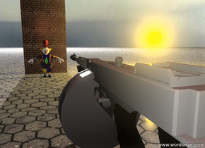 the gun is 5  feet above the tile ground. it is facing north. the clown is 30 feet to the north of the gun. the clown is on the ground. the clown is unreflective. the brick wall is 3 feet behind the clown. the wall is 16 feet high. the humongous white light is 200 feet behind the wall. the humongous white light is 75 feet above the ground. the big apple is on the clown.  a very large orange light is 20 feet to the right of the apple.  the small red illuminator is 7 feet above the back of the gun. it is morning. the sky is shiny. it is cloudy.
