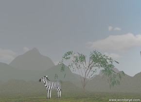 the large striped zebra is on the extremely tall mountain range. it is hazy. the willow is behind the zebra. it is partly cloudy. the grass texture is on the mountain range. it is 10 feet wide.  The skyscraper is 200 feet behind the tree. the stone texture is on the skyscraper. it is 10 feet wide. the building is 120 feet tall.  The mountains are 100 feet to the left of the skyscraper.  the mountains are 200 feet tall.  The ground has a water texture.