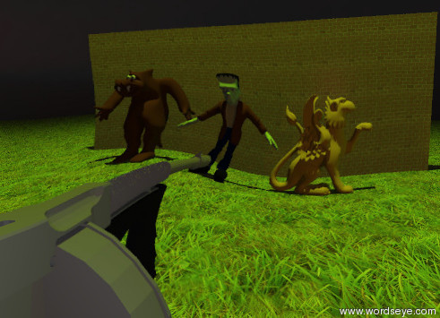 "Input text: the gun is 5  feet above the grass ground. it is facing north. three monsters are 30 feet to the north of the gun. the monsters are on the ground. the monsters are unreflective. the brick wall is 3 feet behind the monsters. the wall is 16 feet high. the wall is 40 feet wide. the humongous green light is 200 feet to the right of the wall. the humongous chartreuse  light is 75 feet above the ground. a very large orange light is 30 feet to the right of the apple.  the bright red illuminator is 7 feet above the back of the gun. it is evening. the sky is shiny. it is very  cloudy.  the huge black ""HP"" is ten feet in front of the gun."