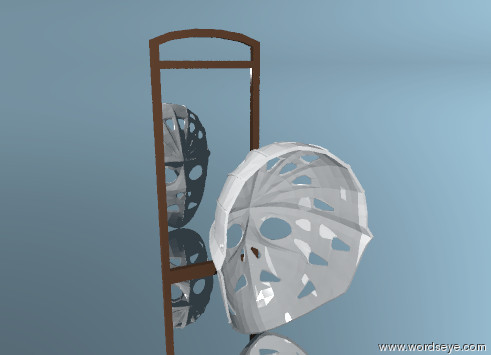 Input text: the mask is facing a mirror. the mirror is facing the mask. the mirror is six inches away from the mask. the mirror is small. the ground is silver.