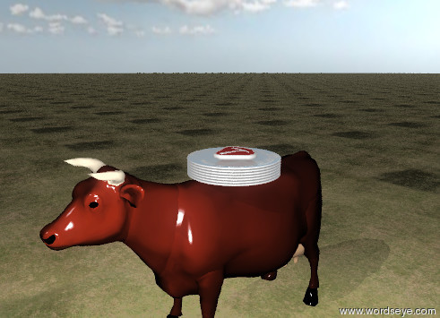 Input text: It is partly cloudy.  The stack of 7 large shiny plates is on the cow. The ground has a grass texture.  The steak is on the plates.