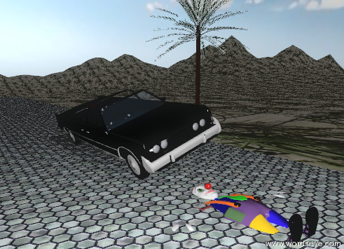 Input text: The leaning  car is on the wide tile driveway.  the driveway is 200 feet long. The driveway is on the tall mountain range. the mountain range has a grass texture.  It is partly cloudy.  The tiny palm tree is to the right of the car.  The face-up clown is in the driveway.  The clown is in front of the car.