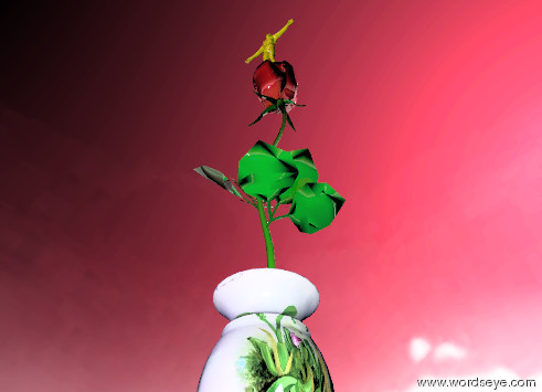 Input text: the shiny red rose is in the tiny flower vase. the sky is pink. the sun is blue. The violet light is ten feet  in front of the vase. the green light is 4 feet above the rose. The bird is ten feet behind the vase, it is 5 feet above the rose. it is partly cloudy. the 3 inch tall yellow man is on the rose.